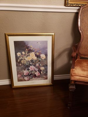 XL Floral picture in gold frame for Sale in San Angelo, TX