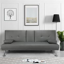 Brand New Contemporary Faux Leather Futon Sofa Bed Couch Sleeper in Gray for Sale in Chamblee,  GA