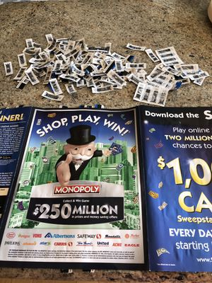 Safeway monopoly game 155 plus tickets see pic for Sale in Gaithersburg, MD