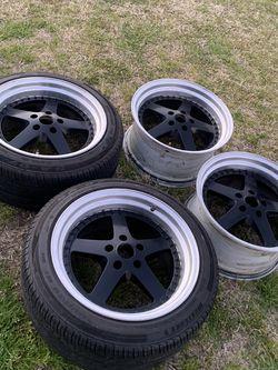 18x9.5 Wheels Rims Tires 350z G35 Civic Wrx 240sx G37 370z Is300 for Sale in Fontana,  CA