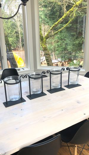 Glass vase candle holders with steel for Sale in Bellevue, WA