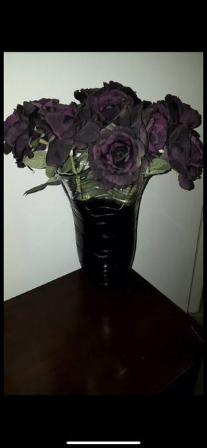 Dark purple vase with purple flowers for Sale in Columbia, MD