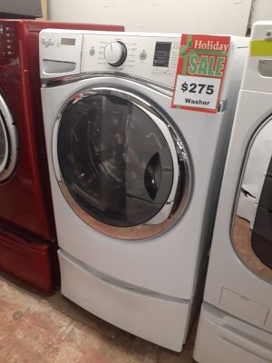 Whirlpool front load washer with pedestal working perfectly with 4 months warranty for Sale in Baltimore, MD