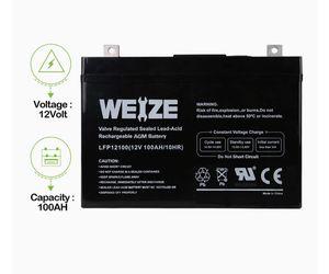Wieze Battery 12 V 100AH Deep Cycle AGM SLA VRLA Battery for Solar System RV Camping Trolling Motor, in Series 24V 36V 48V for Sale in Ashburn, VA