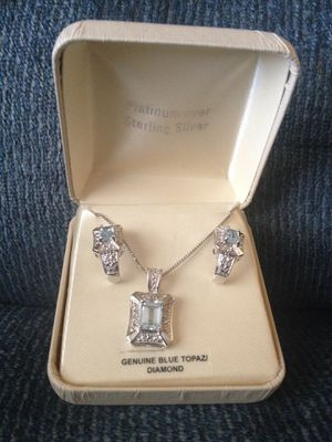 Gorgeous Necklace & Earrings set w/ Topaz & Diamond stones & Platinum over Sterling for Sale in Rancho Mirage, CA