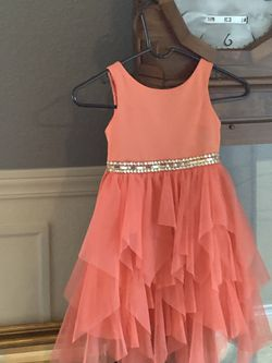 beautiful girls dress swarovski waisted coral fit is size 5-6 for Sale in San Antonio,  TX