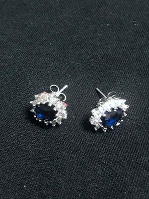 Sterling Silver Dark Blue CZ Earrings for Sale in Las Vegas, NV
