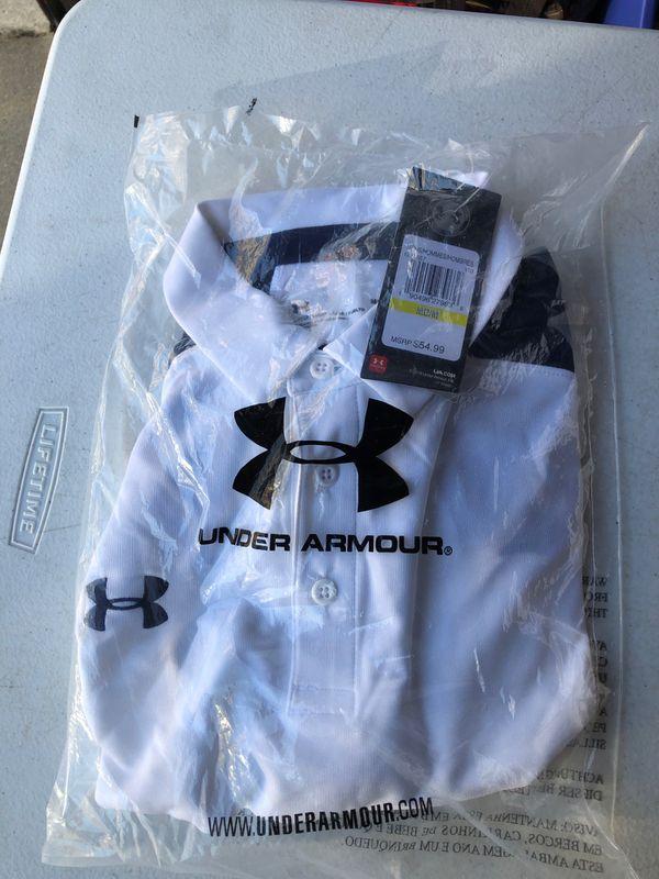 Under Armour Men's Sport Polo Shirts mediums Navy/White