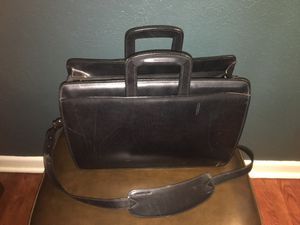 Jack Georges Elements Collection Double Gusset Top Zip Laptop Leather Briefcase - Black for Sale, used for sale  San Antonio, TX