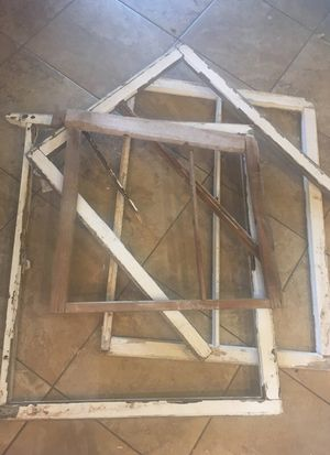 Four very old wood window frames with white chipped paint - perfectly FARMHOUSE! for Sale in Laveen Village, AZ