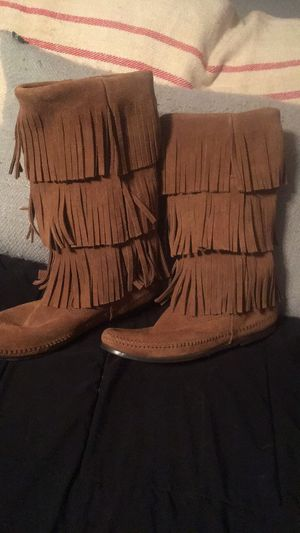Minnetonka camel leather fringe boots for Sale in North Richland Hills, TX