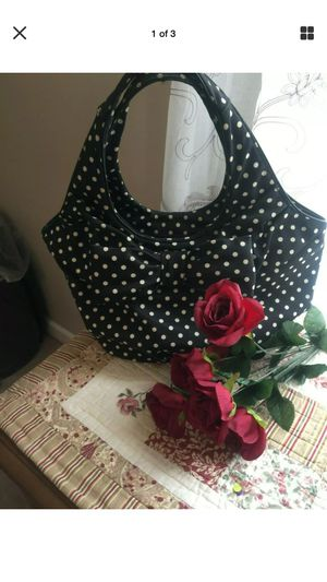 Beautiful designer Kate Spade polka dot sateen tote euc pristine non smoke home no stains no rips for Sale in Northfield, OH