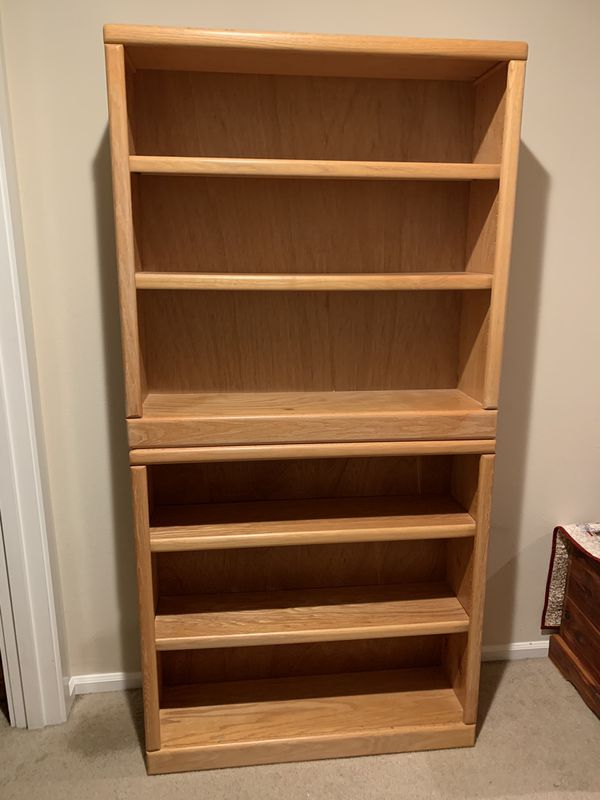 Set of 2 Oak Bookshelves, Bookcases, Shown Stacked In Pics, Each 36 X 36 X 10