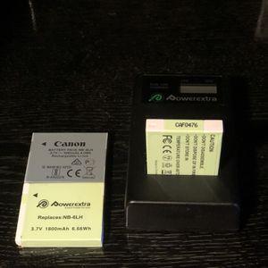 2 Backup Camera Batteries w/ Usb Charging Dock - Camera Battery - NB-6LH for Sale in San Fernando, CA