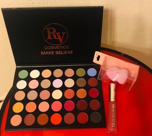RV cosmetic MAKE BELIEV. Eyeshadow Palette, Lip Gloss and Beauty Sponge for Sale in Swansea, IL