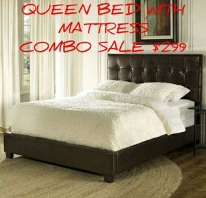 Queen platform bed and Mattress Read Description in Full ***Deal includes*** Queen Headboard, footboard rails and Organic sealy Mattress and box spri for Sale in Bayonne, NJ