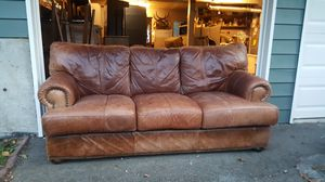 Clean! Genuine Leather Sofa Couch plus delivery for Sale in Seattle, WA