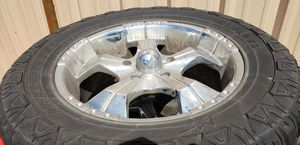 Chrome 5x150 20inch rims and tires for Sale in Edgewood, WA