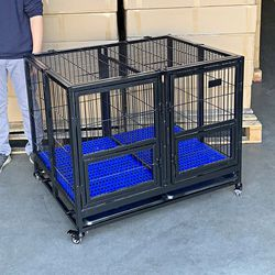 """$170 (new in box) folding heavy-duty dog crate 41""""x31""""x34"""" dual-door stackable cage kennel, divider, plastic tray for Sale in Santa Fe Springs,  CA"""