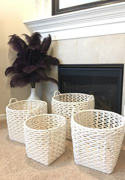 4 new cream colored woven baskets for Sale in Happy Valley,  OR