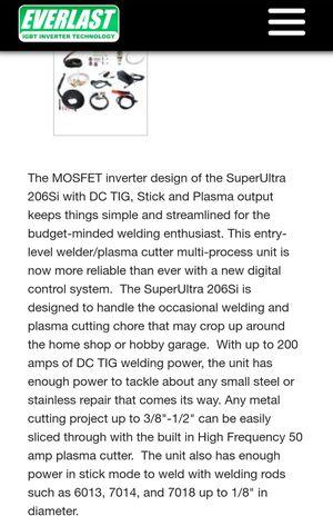 Everlast Superultra-206si 3-1 multiprocess welder for Sale in Suisun City, CA