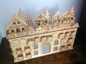 Holiday wood wooden advent calendar Christmas lights up! Like new! for Sale in Seminole, FL
