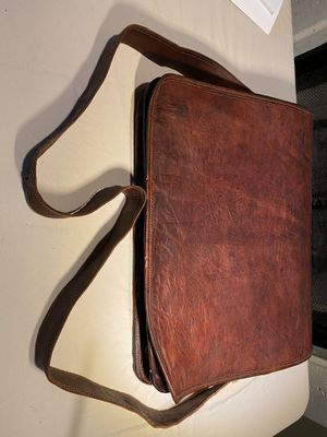 Stitched Large Brown Leather Laptop Messenger Bag for Sale in Cypress, TX
