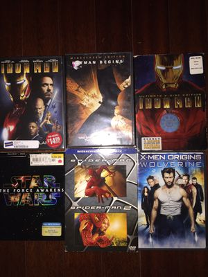 Marvel movies DC movies iron man bat man Star Wars force awakens spider man 1 AND 2 wolverine dvds cds computer laptop Mac kids toys baby toys stroll for Sale in Tampa, FL