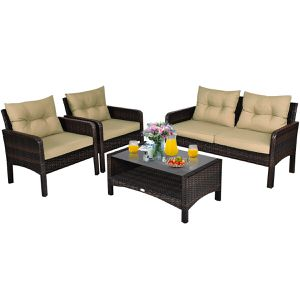 4 Pcs Patio Rattan Furniture Set with Loveseat Sofa Coffee Table For Garden for Sale in Agua Dulce, CA