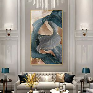 Nordic Canvas Painting Modern Abstract Luxury Ribbon Posters Prints Wall Pictures for Living Room Bedroom Decor Gold Art Poster 26height×15 widet for Sale in San Jose, CA