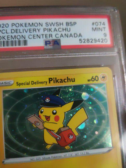 2020 Special Delivery Pikachu Pokemon Center Promo With Swirl Psa 9 Fresh Grade!!