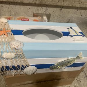 Hand Painted Wood Facial Tissue Holder, Nautical Theme for Sale in Vero Beach, FL