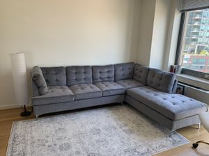 "Tufted Velvet 101.1"" inch Sectional Sofa, Classic Living Room L-Shape Couch (Grey) for Sale in New York, NY"
