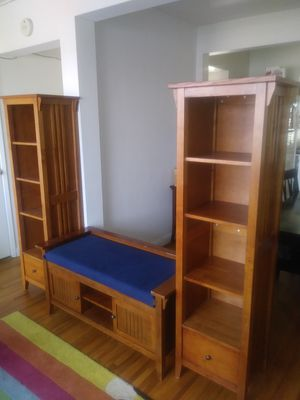Wooden bench w bookshelves for Sale in San Diego, CA
