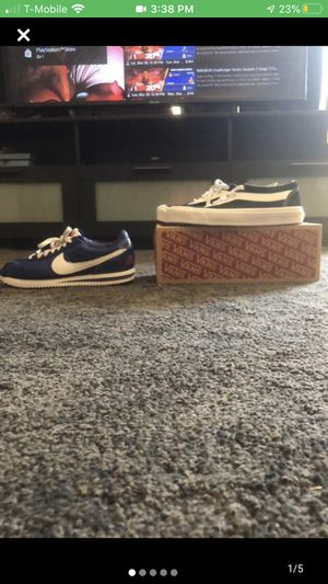Two for $65 Size 8.5 Blue cortez Los Angeles ed with True white and black vans for Sale in San Diego, CA