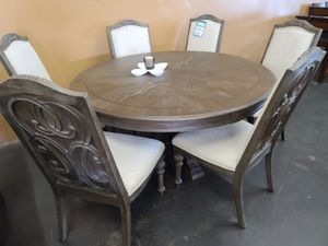 """High-end 60"""" round antique gray dining table with six chairs for Sale in Sacramento, CA"""