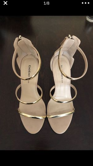 Women's size 6 heels -gold and nude Bebe shoes for Sale in Los Angeles, CA