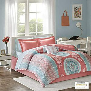 Loretta Coral twin comforter, sheet set. and decorative pillow for Sale in March Air Reserve Base, CA