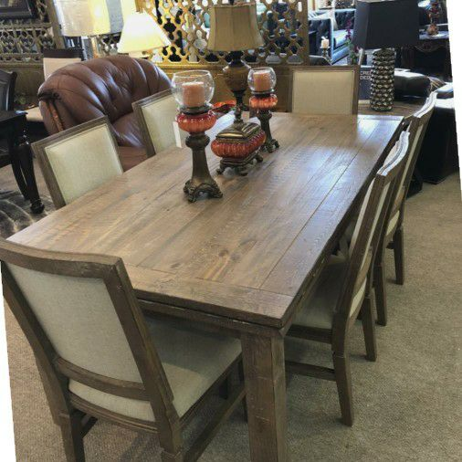 Sandstone dining set table w/extension & 6 chairs