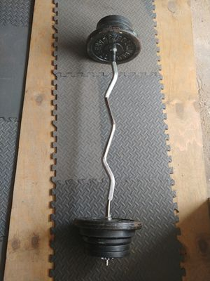 Standard Curl Bar with Weight Plates for Sale in New York, NY