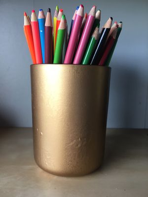 Gold Pen Holder with color pencils for Sale in Falls Church, VA