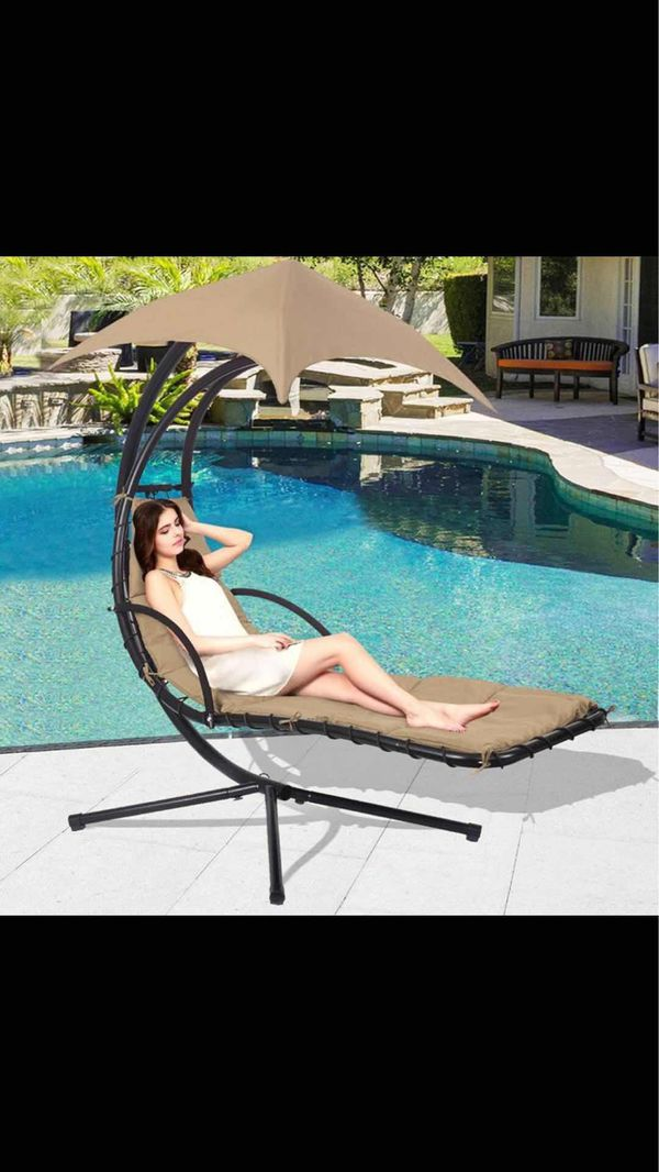 best choice products outdoor porch hanging curved chaise lounge chair swing hammock pillow chair