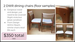 2 dining chairs, floor samples Design Within Reach for Sale in Nashville, TN