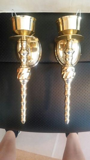 2 brass sconces for candles for Sale in Locust, NJ