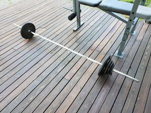 300 lb weight set - barbell and plates for Sale in Marysville, WA