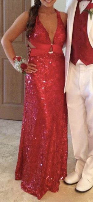 Evening Gown/Prom Dress, Beautiful Deep Red, La Femme, fully sequined, worn once, Size 2-4, $100.00 for Sale in Chino, CA