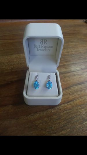 Blue Topaz with Diamond accent earrings white gold for Sale in Holladay, UT