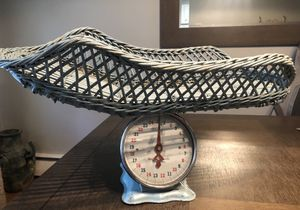Vintage Blue Baby Scale With Blue Wicker Basket for Sale in Camp Hill, PA
