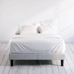 Grey Upholstered Platform Queen Size Bed Frame for Sale in Los Angeles,  CA