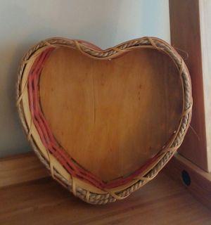 Lancaster Dutch Handcrafted Pink Heart Shaped Wooden Basket for Sale in Gaithersburg, MD
